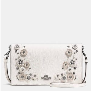 Coach Willow Floral Leather Crossbody Chalk